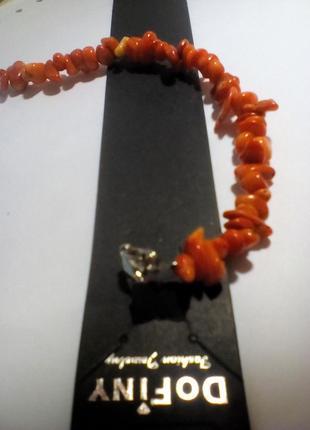Шикарный браслет из натурального камня коралл оранжевый.