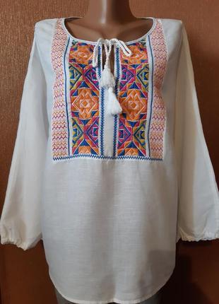 Блузка вышиванка 60% лён+котон размер 16-18 marks & spencer
