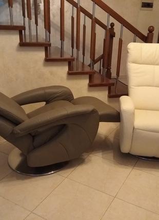 Шкіряні крісла реклайнери, кожаное кресло релакс, відпочинкові
