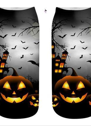 """Стильные темные носочки с ярким рисунком """"Хэллоуин"""" с тыквой"""