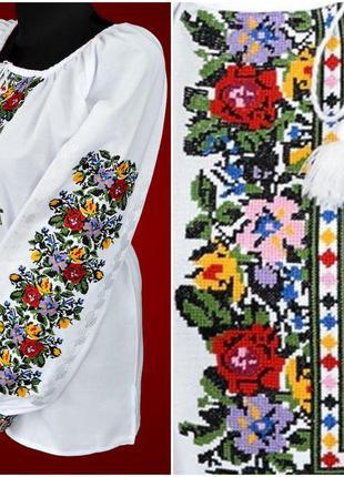 Очень красивая вышиванка на домотканом полотне