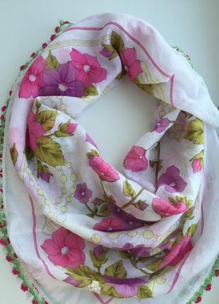 Яркий, красивый шарф цветочный принт, платок цветной enba