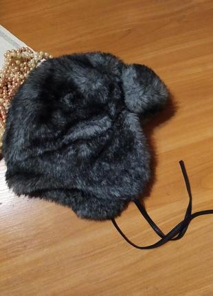 Нереально класна тепла мехова шапка-ушанка one size.
