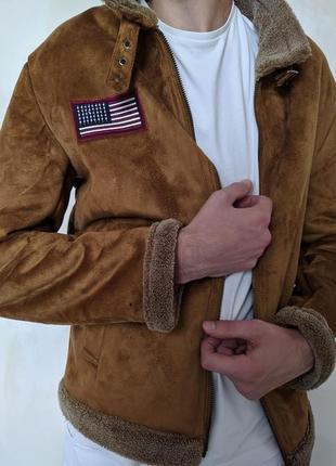 Мужская Зимняя Куртка Дубленка Бомбер с мехом