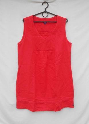 Летнее льняное брендовое свободное  платье без рукавов
