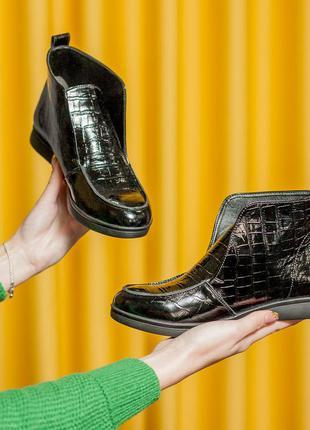 Лоферы ботинки полуботинки женские лак кожа 35-41р.
