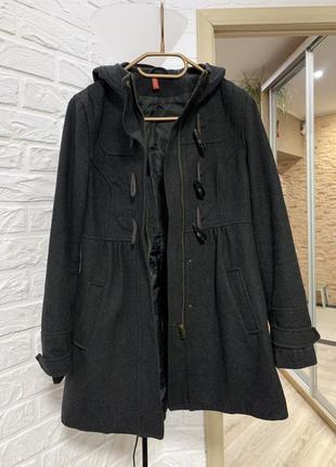 Пальто серое шерстяное тёплое с капюшоном h&m плотная качестве...