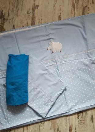 Комплект постельного белья в кроватку для мальчика в горошек