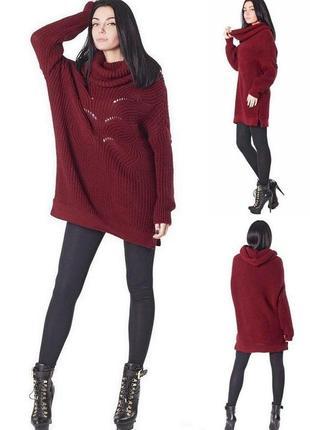 Женский объемный длинный свитер вязаный-туника демисезонное,ов...