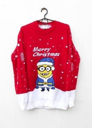Вязаный зимний свитер с надписью с миньеном с длинным рукавом ...