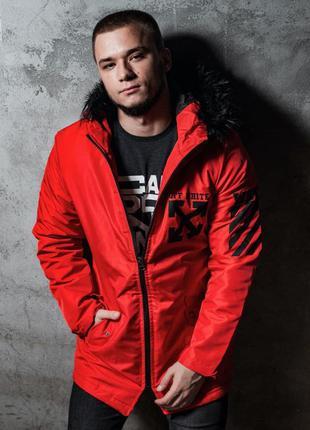 Парка мужская теплая с принтом off white красная / куртка чоло...
