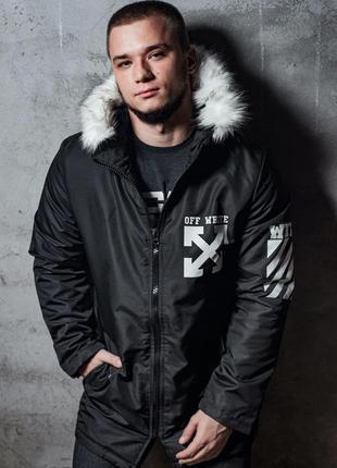 Парка мужская теплая с принтом off white черная / куртка чолов...