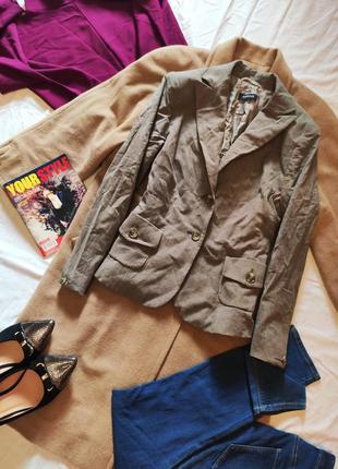 Пиджак жакет серый бежевый шерсть шерстяной с карманами