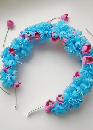 Ободок с цветами, цветочный обруч, цветочный венок, подарок де...