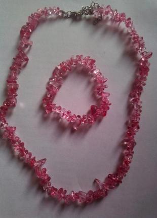Комплект из камней  розового турмалина