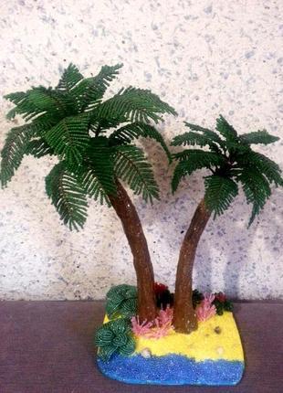 Лазурный берег (пальмы из бисера)
