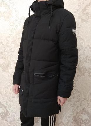 Мужской пуховик черный с капюшоном курточка удлиненная zpjv me...