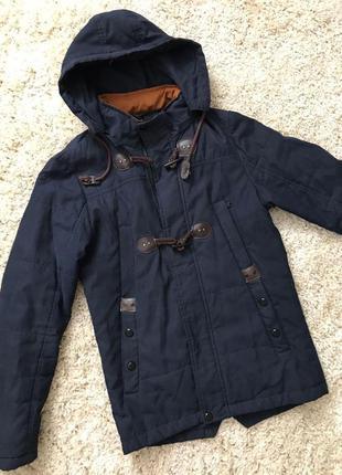 Мужская курточка с капюшоном темно-синяя парка