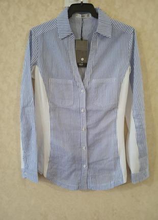 Женская синяя рубашка, блузка в полоску xs-s mango оригинал