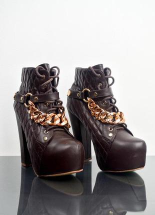 Clowse коричневые ботильоны на платформе со шнуровкой и цепями...