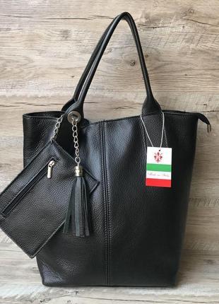 Женская  кожаная итальянская сумка шоппер большая вместительна...