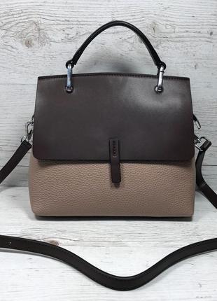 Женская кожаная сумка черная серая жіноча шкіряна сумка сіра ч...