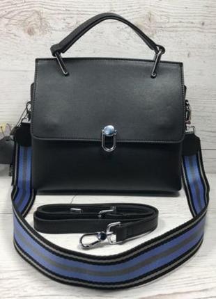 Женская кожаная сумка черная жіноча шкіряна сумка чорна стильн...