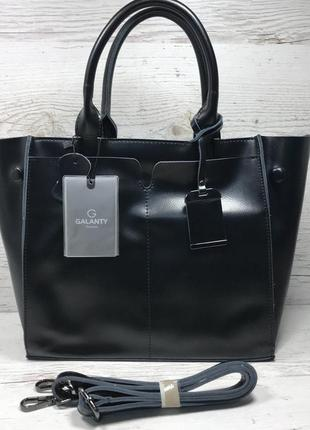 Женская кожаная сумка черная серая розовая жіноча шкіряна сумк...
