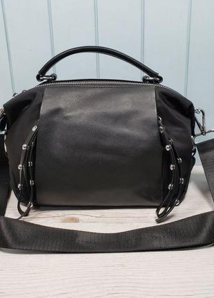 Женская кожаная сумка черная плащевка жіноча шкіряна сумка чорна