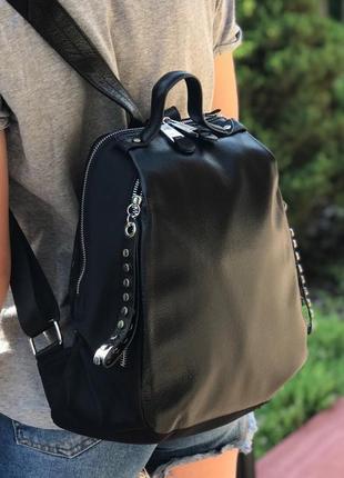 Женский стильный кожаный рюкзак жіночий шкіряний ранець чорний