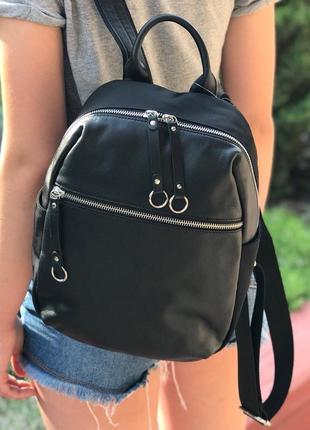 Женский стильный кожаный рюкзак черный жіночий шкіряний ранець...