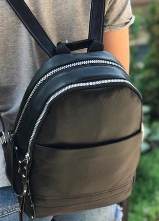 Женский кожаный рюкзак чёрный жіночий шкіряний ранець чорний