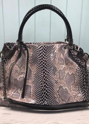 Женская кожаная сумка со структурой под питона жіноча шкіряна ...