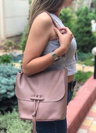 Женская кожаная сумка galanty черная голубая розовая серая жін...