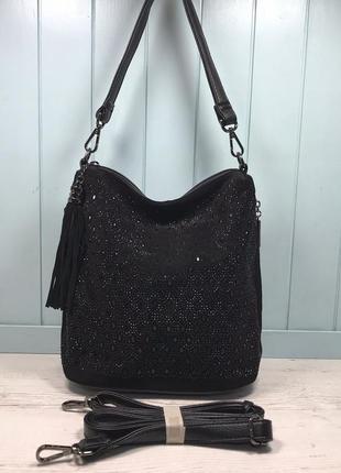 Женская замшевая сумка polina eiterou черная с камнями жіноча ...