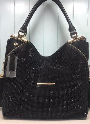 Женская замшевая сумка с камнями черная большая жіноча замшева...
