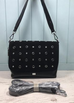 Женская замшевая сумка velina fabbiano чёрная жіноча замшева ч...