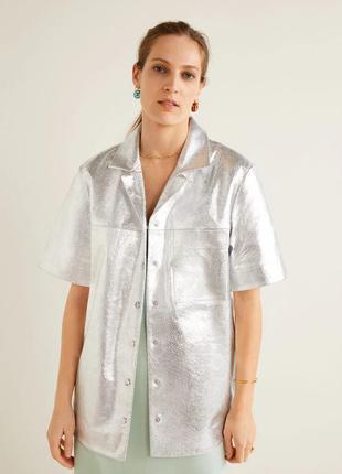 Кожаная женская серебристая рубашка, пиджак xs-m mango оригинал