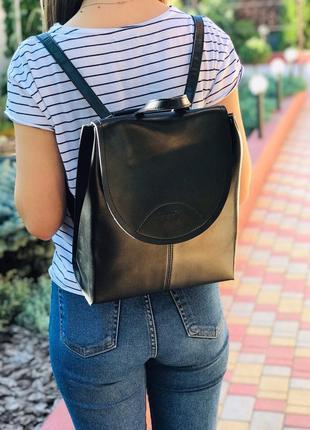 Женский кожаный рюкзак сумка galanty чёрный жіночий шкіряний р...