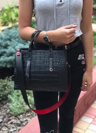 Женская кожаная сумка черная крокодил жіноча шкіряна чорна