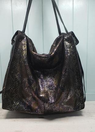Женская кожаная сумка polina & eiterou большая питон жіноча шк...