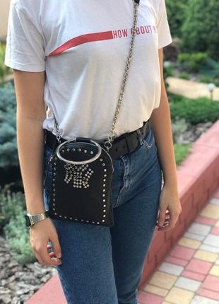 Женская стильная кожаная сумка черная жіноча шкіряна чорна