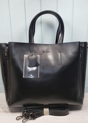 Женская кожаная сумка galanty чёрная большая жіноча шкіряна ве...