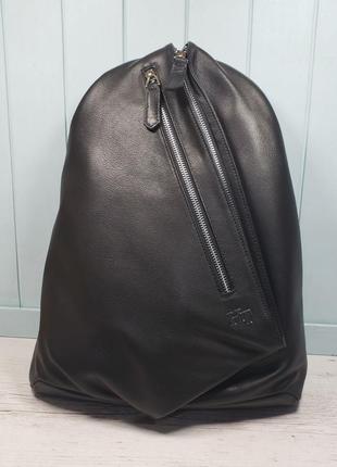 Женский кожаный рюкзак h.t leather жіночий шкіряний ранець чорний