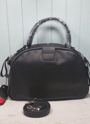 Женская кожаная сумка polina & eiterou чёрная саквояж жіноча ш...