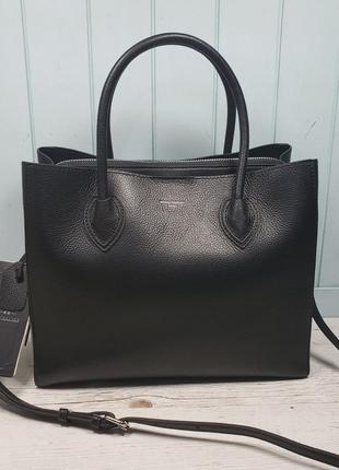 Женская кожаная сумка чёрная жіноча шкіряна чорна