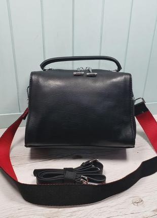 Женская кожаная сумка крокодил чёрная жіноча шкіряна чорна