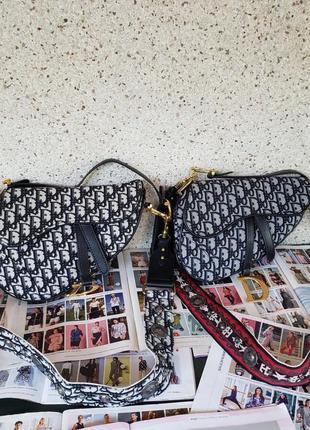 Женская тканевая сумка жіноча чорна чёрная Dior Saddle Диор седло
