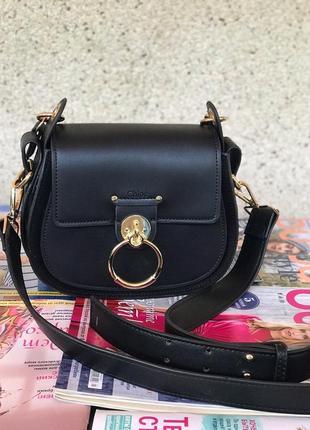 Женская кожаная сумка жіноча шкіряна чорна Chloe Хлое