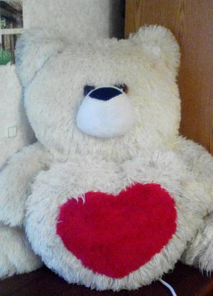 Мишка медведь белый сердце мягкая игрушка плюшевый большой 70 см